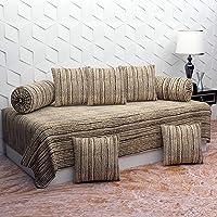 BROMWICK Modren Art Microfiber Diwan Set 8 Pieces, 1 Single bedsheet, 5 Cushions Covers and 2 Bolster Covers-Beige