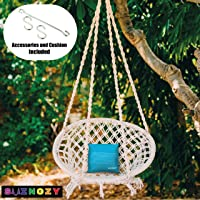 Swingzy Make In India,Cotton Hanging Swing For Adults,Hanging Swing for Kids,100% Cotton Rope Swing for Indoor,Outdoor,Home, Patio, Yard,Balcony,Garden,100 Kg Capacity (White,Hanging Accessories & Cushion FREE)