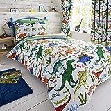 Happy Linen Company Set de Fundas Infantiles para edredón - Reversible - Estampado de Dinosaurios con tiranosaurio Verde - In