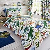 Happy Linen Company Kids Boys Girls Dinosaur Park Jurassic T-Rex Dino Green Reversible Double Bedding Duvet Cover Set
