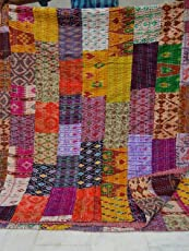 Sovereigns Cotton Antique Design Patola Silk Patch Work King Size Saree Kantha Quilt (Multicolour)