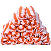 Skumars Love Touch 20 Piece 300 GSM Cotton Face Towel Set - White and Orange
