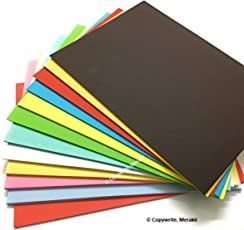 Merakii premium coloured paper for art and craft. A4 size pack of 24, 250 gsm thick cardstock craft papers sheets