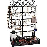 Belle Vous Porte Boucles d'Oreilles en Métal Noir Presentoir Bijoux avec Socle - 5 Niveaux, 80 Trous et 10 Crochets - Rangeme