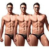 Newsywell Men's 3-Pack Low Rise Briefs Breathable Bikini Soft Stretchy Underwear