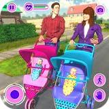 La mère virtuelle heureuse famille jumelle le jeu d'aventure de soin de bébé