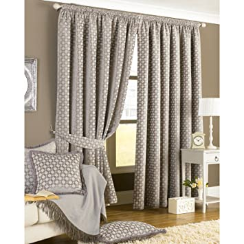 Paoletti Belmont Chenille Jacquard Woven Lined Pencil Pleat Curtains,  Silver, 90 X 90Inch