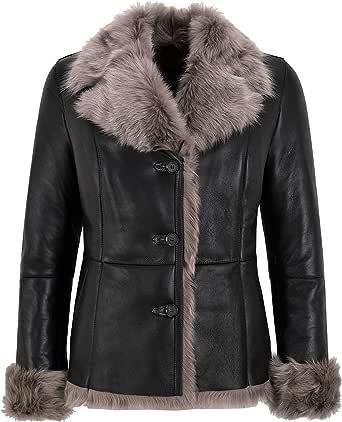 Giacca Invernale da Donna di Design in Vera Pelle di Montone Spagnola Toscana Naturale Nera SC-396