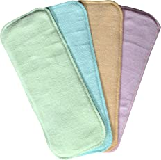 CHINMAY Kids Wet-Free Microfiber Inserts Washable Microfiber Baby Cloth Diaper Inserts 3 Layers Each Insert for Diapers Pocket Mat Nappy Changing Liners (Set of 4 (G.B.Y.P))