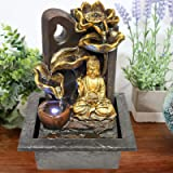 GEEZY Indoor Tabletop Fountain Water Feature LED Lights Polyresin Statues Home Decoration (Buddha Fountain)