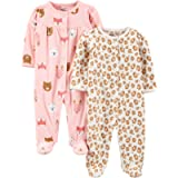 Simple Joys by Carter's Baby Girl's Footed Fleece Buttoned Long Sleeve Sleepsuit, Pack of 2