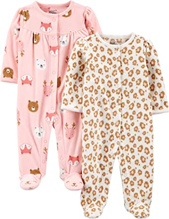 Simple Joys by Carter's 2-Pack Fleece Footed Sleep and Play Bébé Fille, Lot de 2