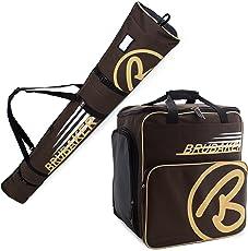 BRUBAKER Kombi Set CHAMPION - Limited Edition - Skisack und Skischuhtasche für 1 Paar Ski 170 cm oder 190 cm + Stöcke + Schuhe + Helm Braun Sand