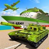 Gioco di trasporto dell'esercito americano - aereo cargo e carri armati dell'esercito