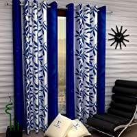 Fashion String 2 Pieces Window Curtain Set, 5 feet Long,Blue