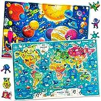 Quokka Puzzle Enfant 6 7 8 9 10 Ans - Puzzle 100 Pièces Enfant Jeux Educatif Carte du Monde et Espace