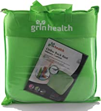 Grin Health Ortho Memory Foam Back Support, Backrest Cushion For Office Chair, Car (Soft Version, Green)