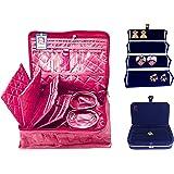 Atorakushon Combo 2 Bangle Chain Necklace Jewelry Pouch with Ring Earring Box Satin Wardrobe Organiser/Regular Makeup Storage