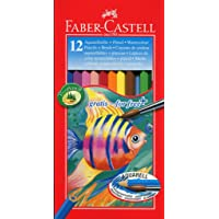 Faber-Castell 114413 Crayons de couleur aquarellables, étuis de 12 - pinceau inclus