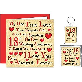 Our 18th Wedding Anniversary Gift Set Card Keyring Fridge