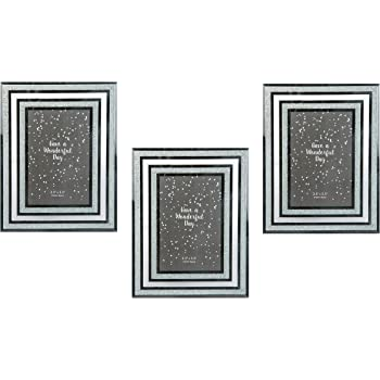 Invero® 3x Set of Glitter and Glass Photo Frame Features Mirrored ...
