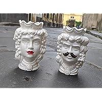 """Testa di moro in ceramica siciliana""""bianco"""" 14 cm COPPIA baffo&rossetto""""PERSONALIZZATE CON DEDICA A VOSTRA SCELTA"""""""
