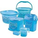 Nayasa Funk Deluxe Plastic Bathroom Set (Blue)
