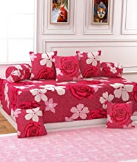 Gurnoor 3D Printed Pink Rose Diwan Set (Set of 8)