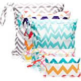 WATINC 5pcs Washable Baby Cloth Nappy Bags Reusable Wet Dry Striped Nappy Bags Waterproof Travel Beach Pool Bags (3…
