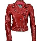 Xposed - Giacca da motociclista da donna, 100% vera pelle morbida, stile retrò, colore nero e rosso
