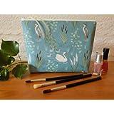 Swan & Heron Toiletries Bag, Ladies' Wash Bag, Large Bird Design Make Up Case, Cosmetics Bag
