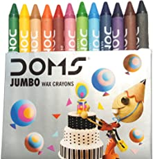 DOMS Jumbo Wax Crayons with Rich Brighter Shades and 12 Colours, 90x11mm (Multicolour, 43222-8386)