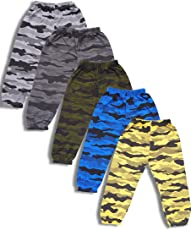 T2F Boy's' Cotton Hosiery Army Printed Track Pants - Pack of 5