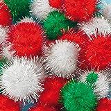 Baker Ross Pompons de Noël à Paillettes (Paquet de 100) Loisir créatif pour Enfant et Adultes