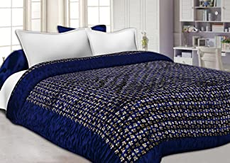 JaipurFabric Silk Navy Blue Base Golden Floral Print Double King Size Quilt