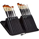 Amazon Brand - Solimo Paint Brushes for Acrylic and Water Colours, with Carry Case, 15 Piece Set