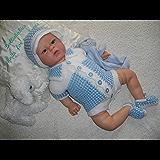 DollieBabies Knitting Pattern 35 - Boys Vest Romper Onesie Set