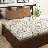 Divine Casa 100% Cotton Abstract Print Mix N Match Bedsheet with 2 Pillow Covers for Double Bed (Beige and Brown)