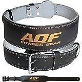 """AQF 4"""" Lederen Gewichtheffende Riem Gevoerde Lumbaal Rugsteun met Suède Voering en stalen Roller Buckle Voorgevormde Fitness-"""