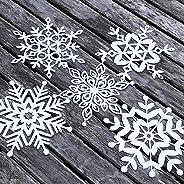 Winterdeko Schneeflocken Eiskristalle Deko Winter Weihnachten Schneeflocke Fenster Tisch Tür (14x14 cm) 10 Stück in 5 Designs