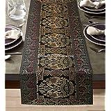 DK Homewares Tradition Indienne Décor De Cuisine 40 X 150 Cm Nappe De Table Brocart Noir Jacquard Rectangular 5 Pieds Chemin