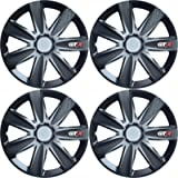 Versaco Car Wheel Trims GTXCARBLK14 - Black 14 Inch 7-Spoke - Boxed Set of 4 Hubcaps - Includes Fittings/Instructions