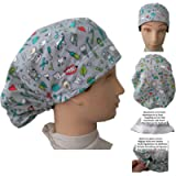 Scrub hat theatre cap INSTRUMENTAL DENTIST for Long Hair with sweatband and ajutable to your liking Surgery, Nurse…