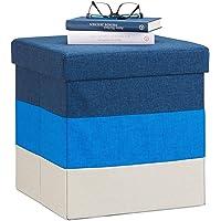 Relaxdays Pouf Imbottito con Contenitore, a Strisce, Colorato, Pieghevole, HxLxP: 38 x 38 x 38 cm, Bianco-Blu