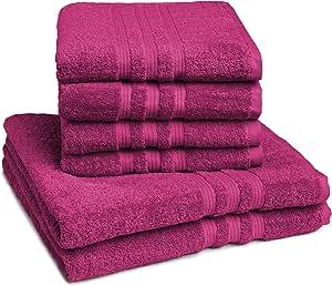 Sleepling Handtuch Duschtuch 6er Set 4 X Handtuch 50 X 100 Cm 2 X Duschtuch 70 X 140 Cm 100 Baumwolle 550 Gr M Beere Küche Haushalt