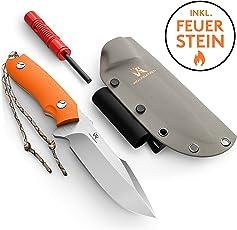Wolfgangs Outdoor-Messer mit Kydex Holster - Aus einem Stück D2 Stahl gefertigt - Inklusive Feuer-Starter und Notpfeife