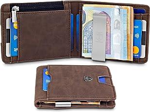 TRAVANDO ® Geldbeutel mit Geldklammer Turin - Slim Design - TÜV geprüft - RFID Schutz - 8 Kartenfächer - Münzfach - Rustikale Rau-Leder Optik - Das Original - inkl. Geschenk Box - Designed in Germany