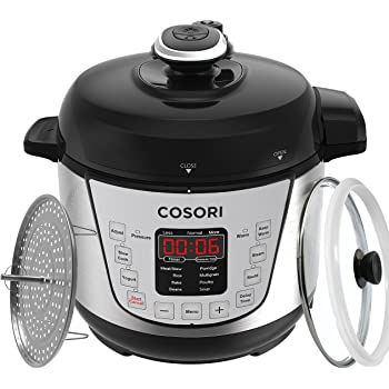 COSORI 7-in-1 Mini Electric Pressure Cooker, 2 Litre/720W, Programmable Multifunctional Rice Cooker, Slow Cooker, Food Steamer and Yogurt Maker with Glass Lid, Extra Sealing Ring and Recipe Book