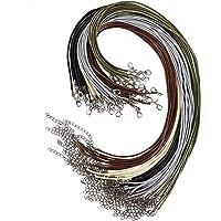 Collier Corde de Cire avec Fermoir de Homard et et Chaîne, 2 mm Multicolore Cordon en Cuir Tressé pour Collier Bracelet…