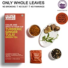 Onlyleaf Turmeric Ginger Tulsi Green Tea, 27 Tea Bags with 2 Free Exotic Samples